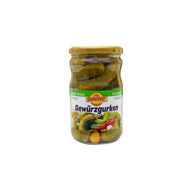 Marinuoti saldžiarūgščiai agurkai SUNTAT, 640 g